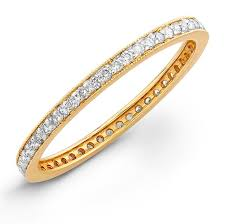 gold diamond band yellow gold stackable eternity band