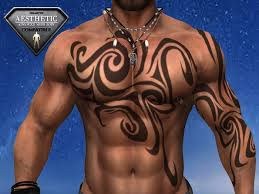 second life marketplace tribal tattoo waves on chest and left arm
