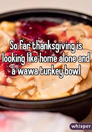 far thanksgiving is looking like home alone and a wawa turkey bowl