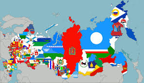 map of russia with the flags of its regions vexillology