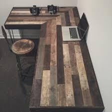 Rustic Office Desk Escritorio En L Rústico De Madera Reciclada Por Crtcreative En