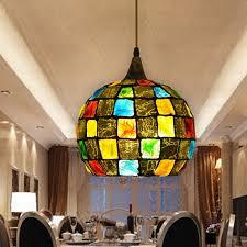 Decorative Pendant Light Fixtures Colorful Glass Shade Decorative Large Pendant Lights