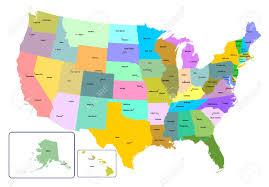 vector us map states free colorful usa map with states and capital cities vector