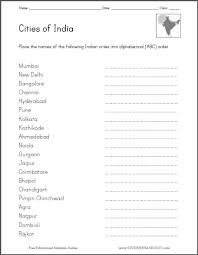 cities of india in abc order worksheet free to print pdf file