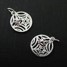sterling silver web charm spider web charm spider charm