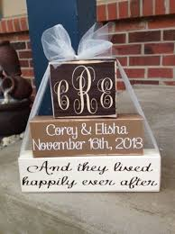 monogrammed anniversary gifts 3 tier personalized monogrammed wedding anniversary wood block