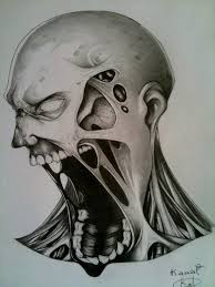 drawn demon zombie pencil and in color drawn demon zombie