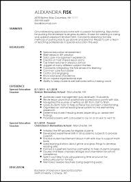 teachers resume template free creative special education resume template resumenow