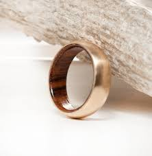 wood rings wedding 14k yellow gold wood lined band available in 14k yellow white