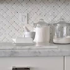 Oriental White Marble Tile Backsplash Design Ideas - Marble backsplash tiles