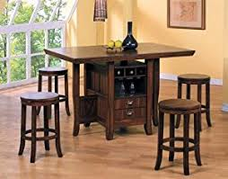 counter height kitchen island amazon com 5pc counter height kitchen island table stools set