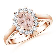 ring diana princess diana inspired morganite ring with diamond halo angara