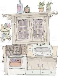 vintage kitchen cartoon stock vector art 186373380 istock