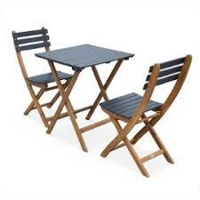 chaises pliables table de jardin 60x60cm barcelona bois noir table bistrot