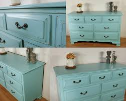 dresser in custom mixed blue milk paint color general finishes