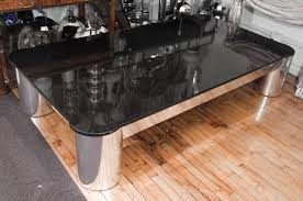 furniture black granite top coffee table with silver chrome base
