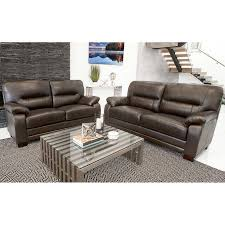 brentwood 2 piece top grain leather sofa and loveseat living room set
