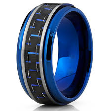 mens blue wedding bands men s brushed blue titanium wedding bands ring with black and blue
