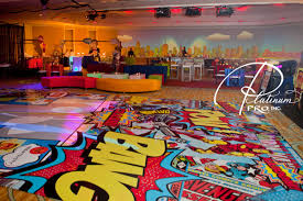 comic book dance floor superhero party ideas decor platinum pro