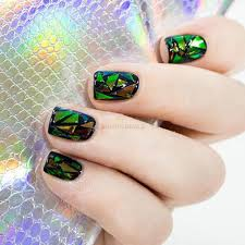 5pc foil wrap glass nail effect art diy decal transfer glitter
