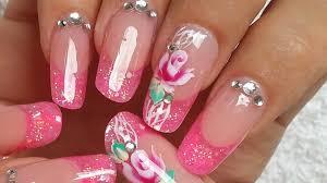 decoración de uñas rosa one stroke pink girly rose nails design