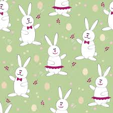 easter wrapping paper easter bunny egg hunt seamless pattern vector