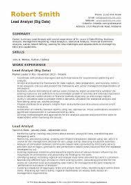 big data hadoop resume lead analyst resume samples qwikresume