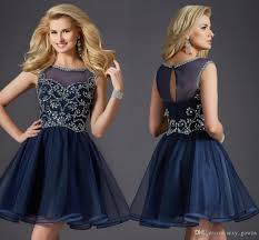 scoop top beaded short rhinestone dresses sparkly puffy navy blue