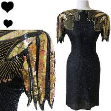 80s Prom Dress Dress Vintage 80s Black Beaded Gold Sequin Cocktail Party Prom
