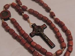 wooden rosary st benedict wooden rosary brazillian jatoba wood cross large