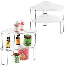 kitchen cabinet organizer shelf small mdesign corner plastic metal freestanding stackable organizer shelf for kitchen countertop pantry or cabinet for storing plates mugs bowls canned