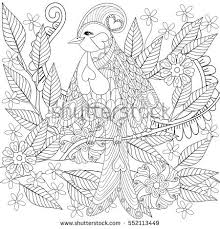 exotic tropical zentangle bird sitting on stock vector 552113449