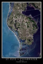satellite map of florida st petersburg clearwater florida satellite poster map