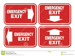 emergency exit signs at floor fire escape stock photo image