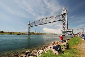 cruise ship mast clips cape cod canal bridge new england boating