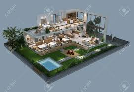 villa plan 3d illustration of isometric villa plan stock photo picture and