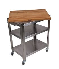 hickory wood black raised door stainless steel kitchen island cart