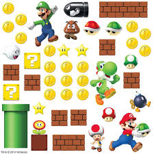 shop amazon kids wall cor roommates rmk scs nintendo super mario build scene peel and stick wall decal count