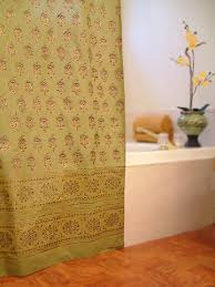 India Shower Curtain Saffron Marigold Handprinted Bedspreads Curtians Duvet Covers
