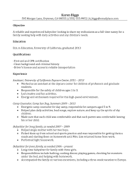 Resume For Nanny Sample by Child Care Resume Examples Resume For Your Job Application