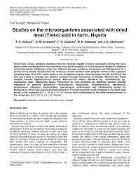 studies on the microorganisms associated with dried meat tinko