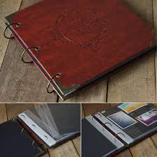 pocket photo albums high quality leather diy photo album wedding inner page plastic