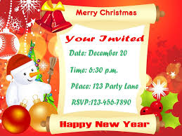 stunning free christmas party invitations with december 10 card