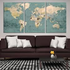 world map push pin wall print large wall canvas world