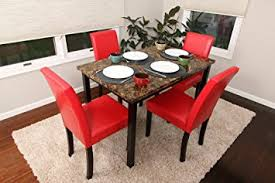 amazon com 5 pc thick marble red leather 4 person table and