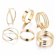 cross gold rings images 6 pieces gold rings set women cross midi knuckle ring multilayer jpg