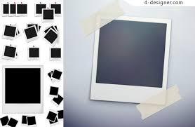 4 designer polaroid photo template vector material