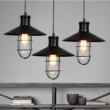 Linear Chandelier With Shade Rustic Pendant Lights Vintage Style Pendant Lamps Rounded Metal