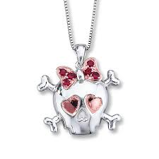 kay jewelers charmed memories kay lab created ruby skull necklace sterling silver