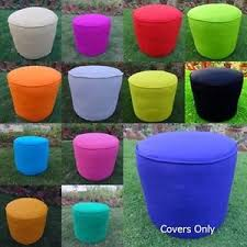 cotton foot stool ottoman cover pouf round furniture pouffee floor
